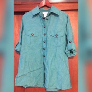 NWT Soft Surroundings Teal Green Linen Blouse XS